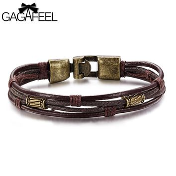 GAGAFEEL Punk Leather Bracelets Bracelet Charm Men Jewelry Alloy Easy Buckles Wristband Watch Chain Bangle Gift For Male Boys