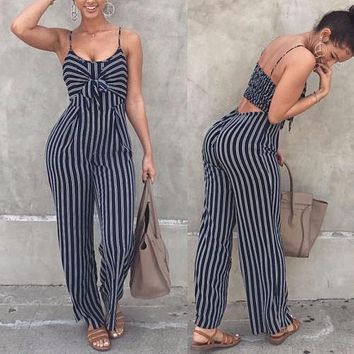 Women Striped Bow Playsuit Bodysuit Party Overall Jumpsuit Strappy Romper Sleeveless Long Trousers Newest
