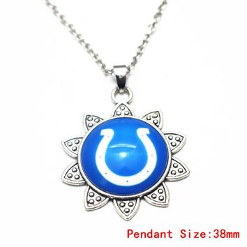 3pcs Sunflower Football Indianapolis Colts Glass Pendant Necklace Silver 20 Inch Chains Necklace For Dangle Charms DIY Jewelry