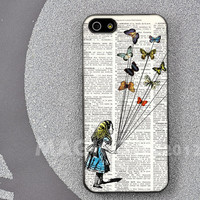 iPhone 4 case / 4s case, iPhone 5 case, Samsung Galaxy S3 / S4 case, Alice in wonderland with butterflies hard case cover