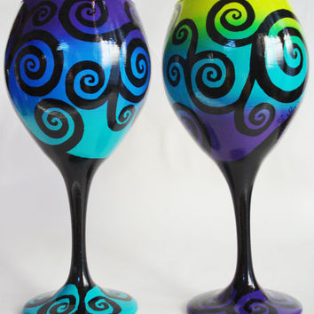 Hand Painted Swirly Tree Wine Glasses by Wine Me by WineMe on Etsy