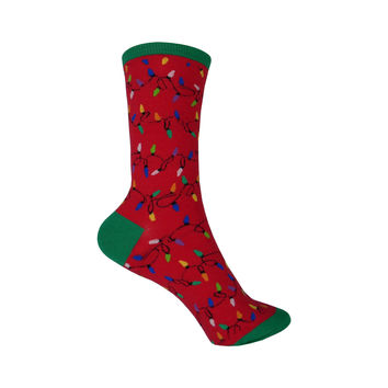 Christmas Lights Crew Socks in Red
