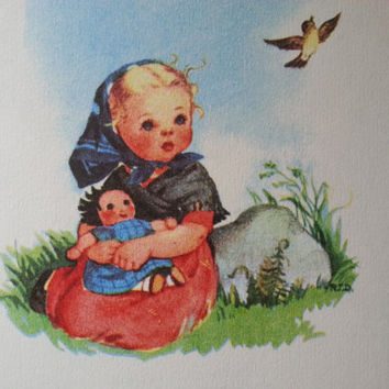 children's book - Vintage Little Golden Book: Prayers for Children - vintage illustration art