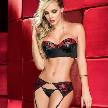 Strapless Bra, Garter And Panty Set