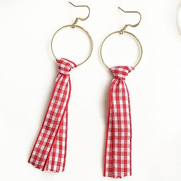 ES365 Long Drop Earrings Women Circle Lattice Cloth Dangle Brincos Fashion Jewelry Summer Bijoux For Students 80's 90's