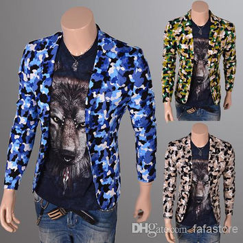 2014 Hipster necessary Camouflage printed men suits men tight suits mens blazer man jacket 3 color