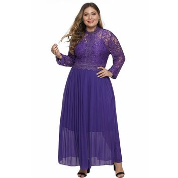 Purple High Neck Long Sleeve Lace Top Maxi Outfit