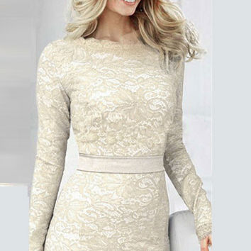 White Lace Long Sleeve Pencil Bodycon Midi Dress