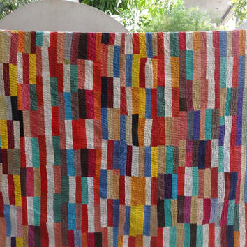 Patchwork Kantha Quilt, Queen Size Indian Cotton Bedspread, Brick Pattern with Hand Kantha Work, Multicolor Kantha Blanket, Hant Art