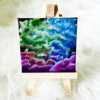 Abstract Smoke Clouds Painting on Miniature Canvas