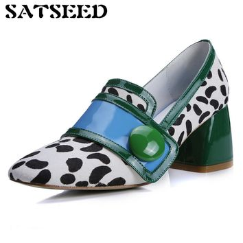 Autumn British Fashion Color Horse Genuine Leather Women Shoe Shallow Leopard Loafer Shoes Middle Square Heel Slip-on Shallow