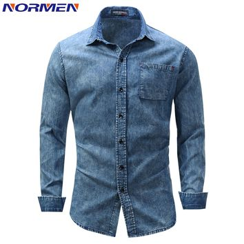 NORMEN Men's Fashion Denim Shirt Full Sleeve Solid Casual Tops For Man Shirts Streetwear EUR Size camisa social masculina
