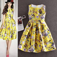 Yellow Small Squirrel Print Sleeveless Pleated Swing Dress