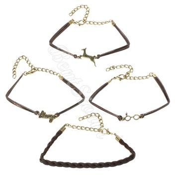 Licensed cool Harry Potter The DEATHLY HALLOWS Braid Cord Metal Bracelet 4 Pack Jewelry NEW