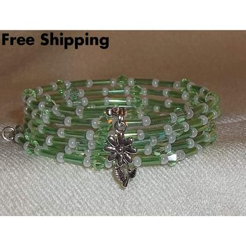 Flower Green Swarovski Crystal, Glass Bugle Bead & White Pearl Preciosa Beaded Silver OOAK Artisan Crafted Wrap Bracelet