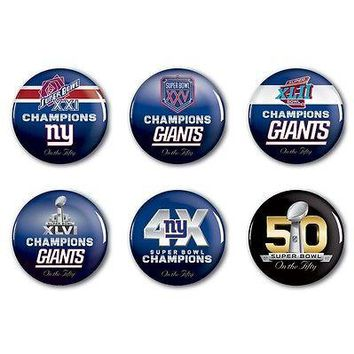 NEW YORK GIANTS PAST SUPER BOWL CHAMPIONS ON THE FIFTY BUTTONS 6 PACK SET NEW