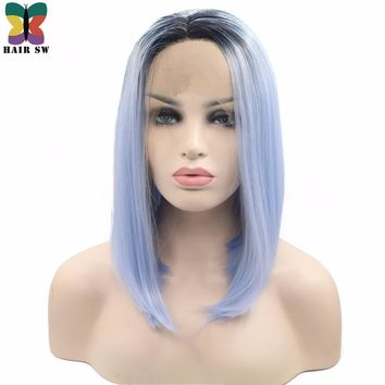 Women Pastel Blue Ombre Dark Roots Lace Front Wig