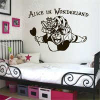 WXDUUZ Wall Decal Alice in Wonderland Rabbit Cat Clock Have Ou Gone Mad Art Home Decor Nursery Kids Room Quote Wall Decor B402