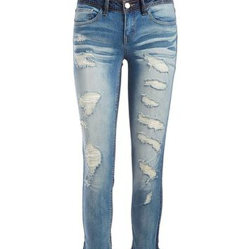 Dollhouse Midtown Blue Distressed Denim Skinny Jeans - Plus