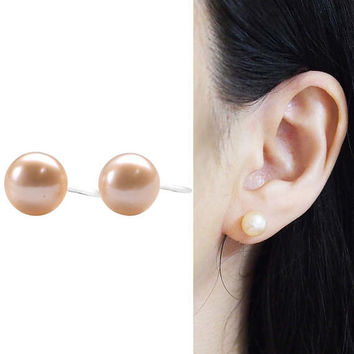 Light Orange Freshwater Pearl Invisible Clip on Stud Earrings Non Pierced Earrings Natural Pearl Clip Earrings Bridal Clip-ons Gift for Her