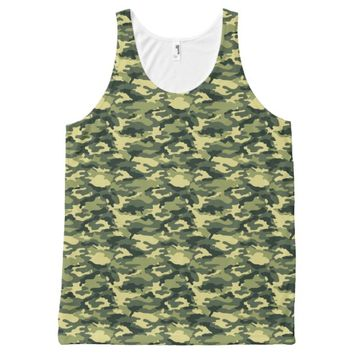 Army Green Military Camouflage Print All-Over-Print Tank Top