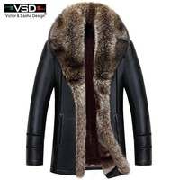 Winter Faux Leather Men Jacket Leisure Leather Business Men Warm Thick Coats Leather Jackets And Coat