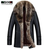 VSD 2018 Winter Faux Leather Mens Jacket Leisure Leather Business Men Warm Thick Coats Long Style Leather Jackets And Coat VS632