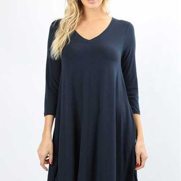 Essential 3/4 Sleeve V Neck Tunic Top - Multiple Colors!