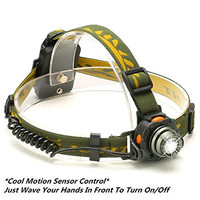 LED Headlamp, ThorFire Sensor Head Light Flashlight Cree XP-E R3 Lamps Bright Water Resistant 3 Mode Sensitive Emergency Light Runs by AAA Battery Camouflage Hands Free Outdoor