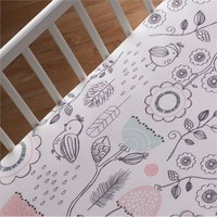 Sparrow Print Fitted Crib Sheet