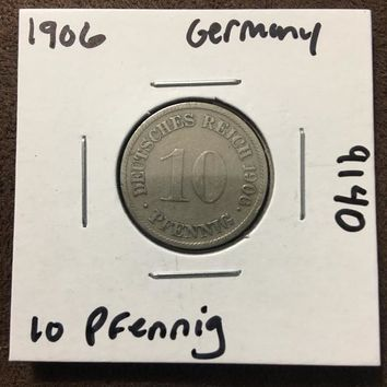 1906 German Empire 10 Pfennig Coin 9140