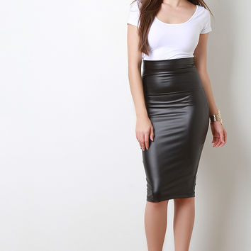 Vegan Leather Midi Pencil Skirt