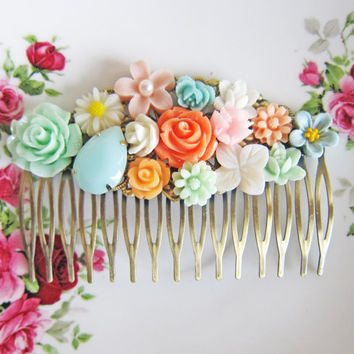 Orange Wedding Hair Comb Antique Brass Bridal Vintage Style Bridesmaids Gift Shabby Chic Pink Blue Mint Peach White Colorful Summer Fall