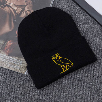 90c63f98fc9 Men Women Couple Caps Winter Warm Hats Drake OVO Gold Owl Embroi