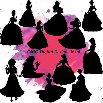 12 Disney Princess Digital Clipart, Clipart Design Elements, Instant Download, Black Silhouette Clip art