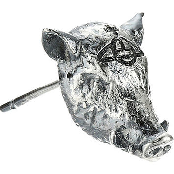 Vivienne Westwood Konstantin Boar Single Stud Earrings Oxidized Silver - Zappos.com Free Shipping BOTH Ways