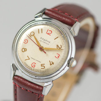 Collectible men's watch Rodina first automatic Soviet watch rare self winding watch X'mas gift him leather strap burgundy antiallergic