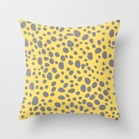 Gray and Yellow Spotted Pattern Throw Pillow by hhprint