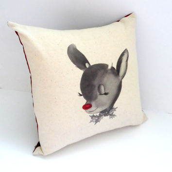 Adorable Red Nose Rudolph Christmas Pillow, Holiday Home Decor, Envelope Back, 14X14, Shabby Chic, Cute, Gifts for her, Slipcover