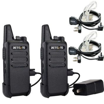 DCK4S2 Retevis RT22 Two Way Radio UHF 400-480MHz 16 CH VOX Walkie Talkies(2 Pack) and Covert Air Acoustic Earpiece (2 Pack)