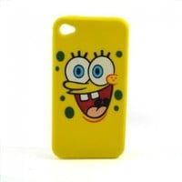 Spongebob Squarepants Soft Silicone Iphone 4 4g 4s Case Cover Big Face Yellow