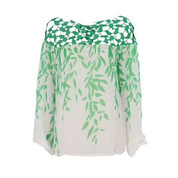 Women Fashion Leaves Printed T-Shirt Sexy Hollow Out Chiffon Tops Green Leaf Boat Neck 2017 Spring Summer Hot Sale