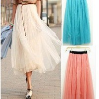 Candy Colors Women Ladies Elastic Pleated Tulle Waistband Mesh Long Maxi Skirt