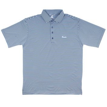 Longshank Striped Performance Polo in Navy & Ice Blue by Country Club Prep