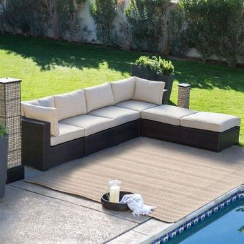 CREYONB Outdoor Wicker Resin 6-Piece Sectional Sofa Patio Furniture Conversation Set with Tan