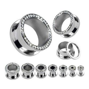 Stainless Steel Screw Fit Ear Gauge Plugs Flesh Tunnel Kit Piercing Hollow Expander Body Jewelry