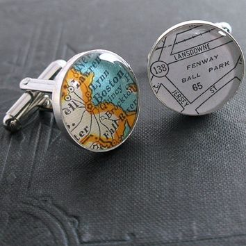 No. 01 Boston Ball Park Vintage Map Sterling Silver Round Cufflinks