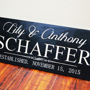 Personalized Wedding Gift Last Name Established Sign Family Name Signs Custom Wood Sign Carved Wood Sign