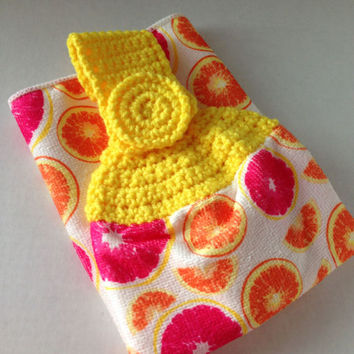 Fruit Kitchen Towel - Crochet Top - Summer Kitchen Towel - Yellow - Orange - Pink - Hanging Towel - Handmade Crochet - Ready to Ship