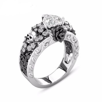 ROXI Fashion Skull Rings for Women Men Gothic Punk Jewelry Flower Heart CZ Crystal Finger Rings Skeleton anillos mujer Dropship